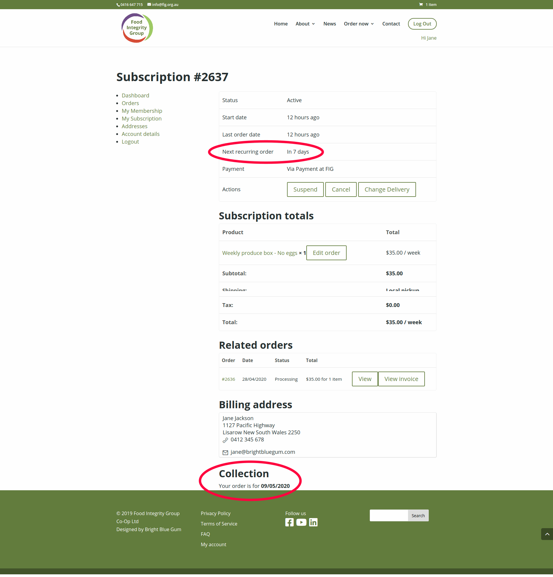 Example of a subscription highlighting the next recurring order and the collection date