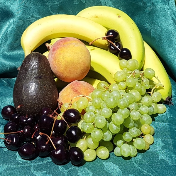 Various fruits in season on a table